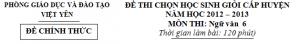 Đề chọn học sinh giỏi Văn lớp 6 cấp huyện Việt Yên năm 2012-2013