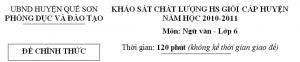 Khảo sát chất lượng học sinh giỏi Huyện Quế Sơn năm 2010-2011
