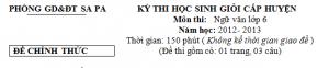 Kỳ thi chọn học sinh giỏi Văn 6 cấp huyện Sa Pa 2012-2013